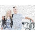 """Портрет из слов """"С днем свадьбы"""" на фоне из букв"""
