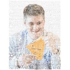 """Картина из слов по фотографии """"С днем рождения"""" на буквенном фоне"""