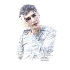 """Портрет из слов по фото """"Подарок на день рождения"""", выполненный на белом фоне"""
