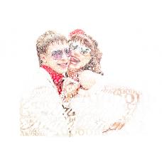 """Портрет из слов на белом фоне """"Двое"""""""